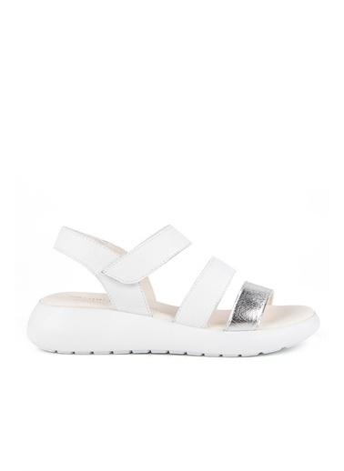 Muya Sadira Anatomik Hakiki Deri Kadın Sandalet Beyaz